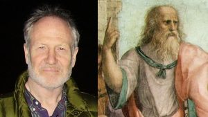 photo of Michael Allen, and a painting of Plato